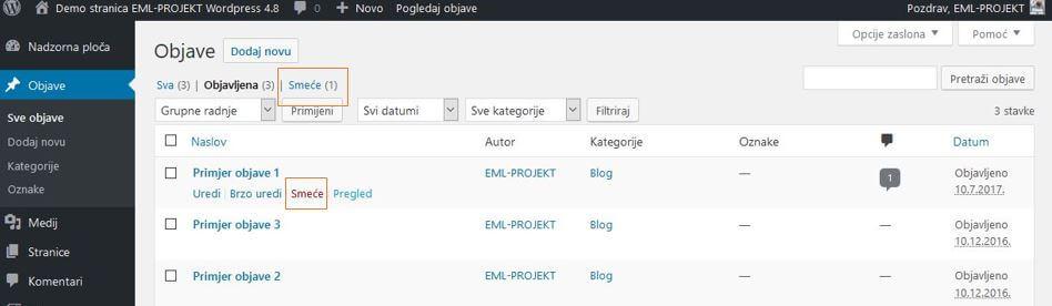 Brisanje objava u WordPressu 4.8