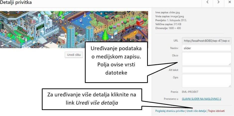 Detalji privitka u Zbirki medija WordPressa 4.8