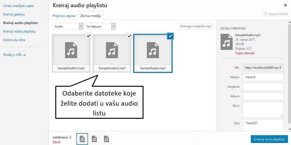 Dodavanje audio sadržaja u WordPress 4.8