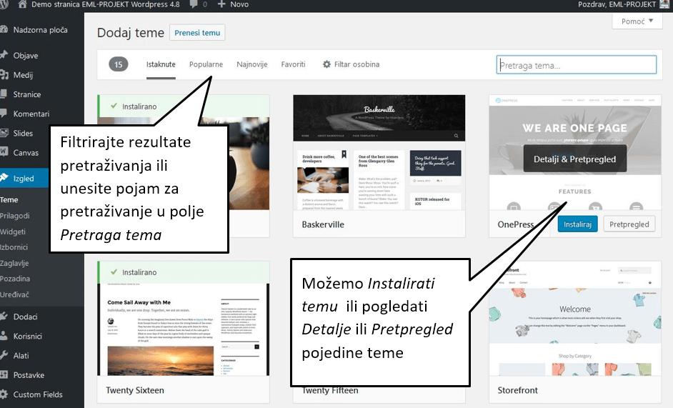 Dodavanje nove teme u WordPressu 4.8