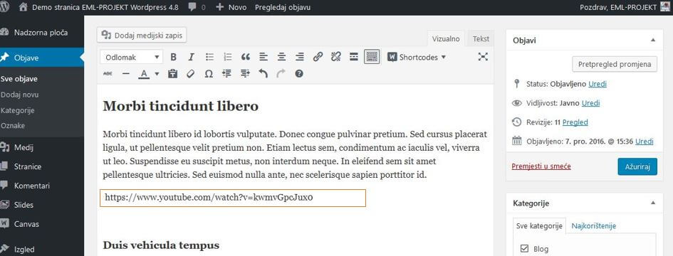 Dodavanje video sadržaja u WordPressu 4.8