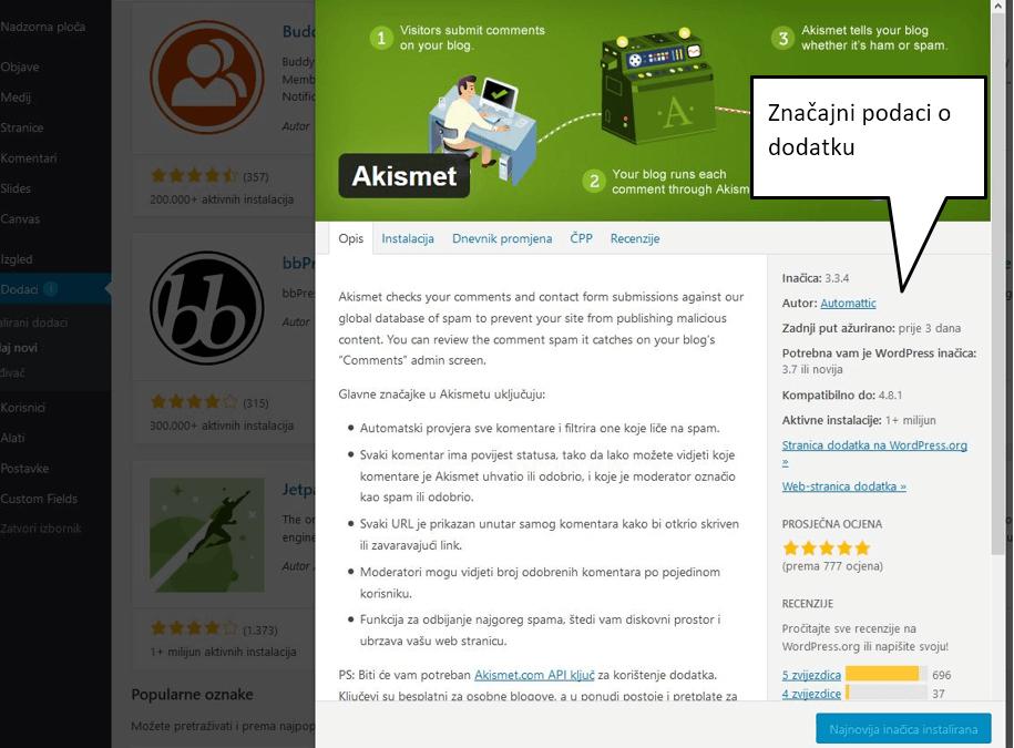 Informacije o pojedinom dodatku u WordPressu 4.8