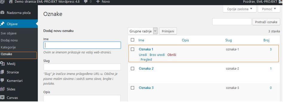 Kreiranje nove oznake u WordPressu 4.8