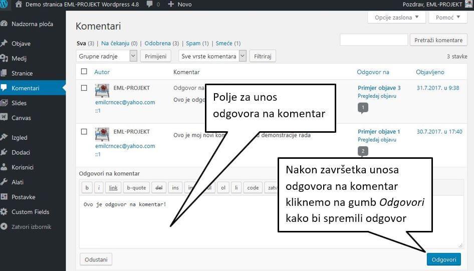 Odgovori na komentare u WordPressu 4.8