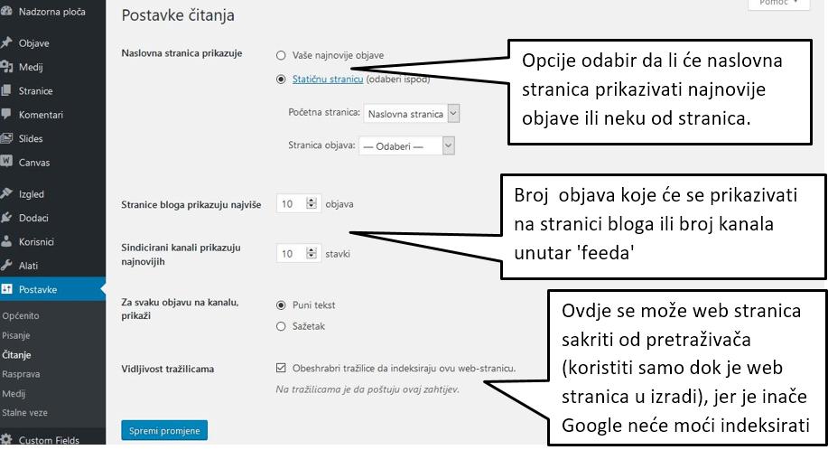 Postavke Čitanje u WordPressu 4.8