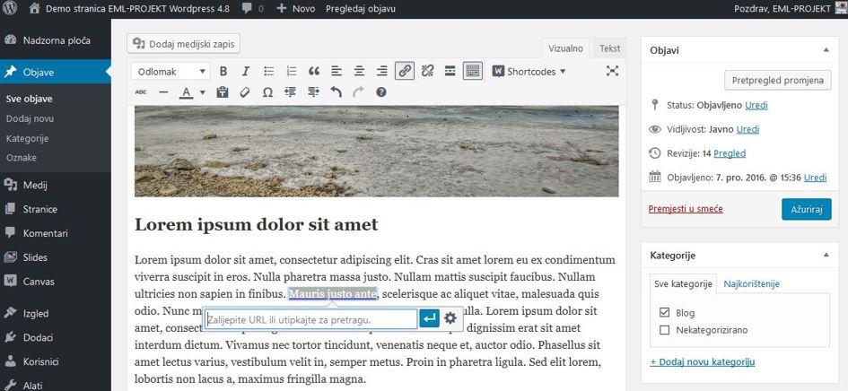 Postavljanje linka na tekst u WordPressu 4.8