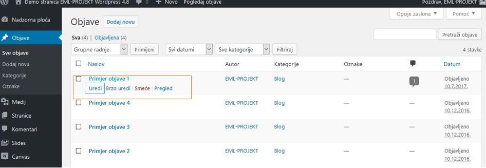 Pregled postojećih objava u WordPressu 4.8