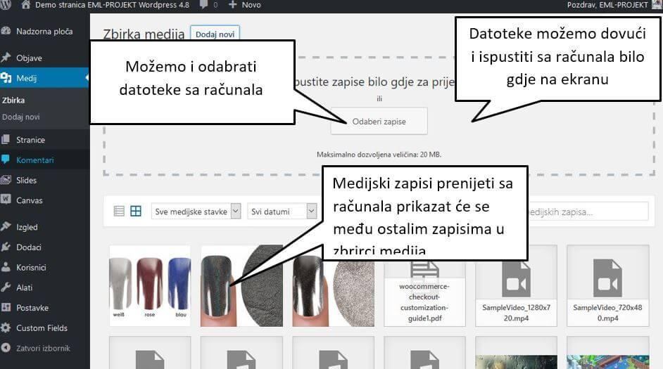 Prikaz skinute slike sa računala u WordPressu 4.8