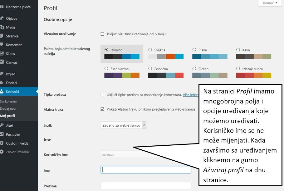 Uređivanje profila korisnika WordPress 4.8