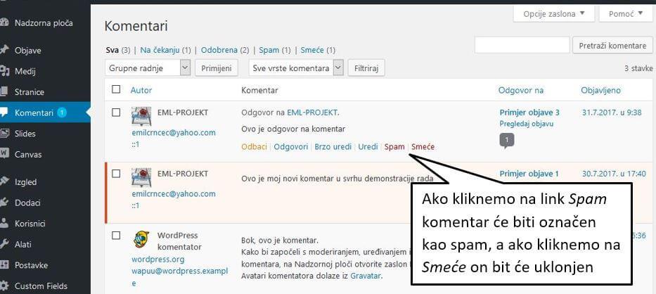 Spam komentari u WordPressu 4.8