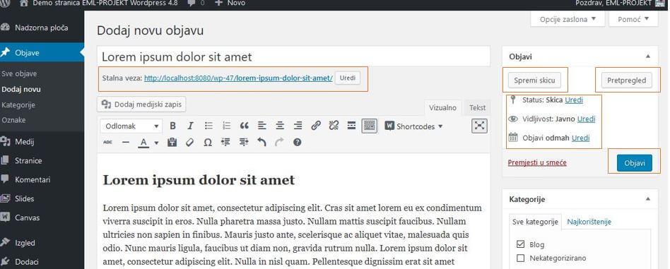 Spremanje sadržaja u WordPressu 4.8