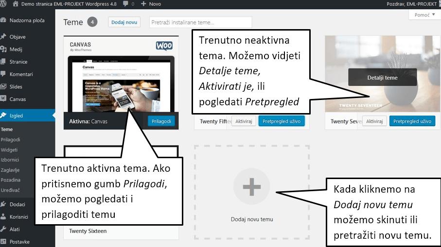 Trenutno aktivna tema u WordPressu 4.8