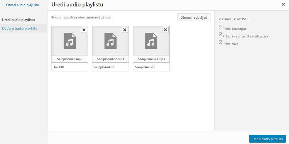 Uređivanje audio Playliste u WordPressu 4.8