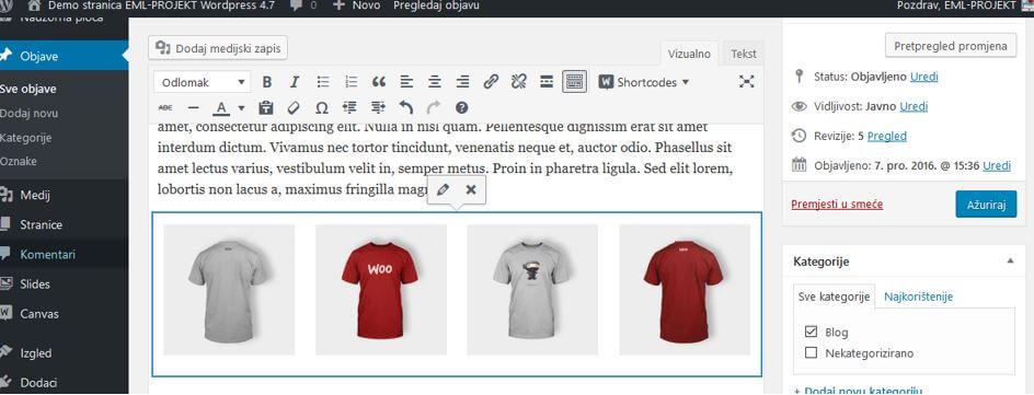 Uređivanje i brisanje galerije slika u WordPressu 4.8