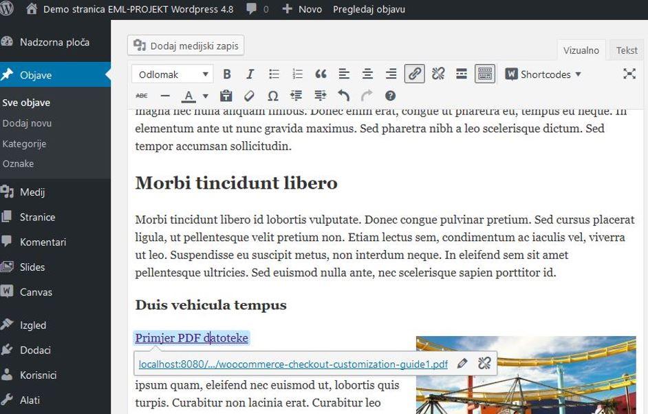 Uređivanje linka u WordPressu 4.8