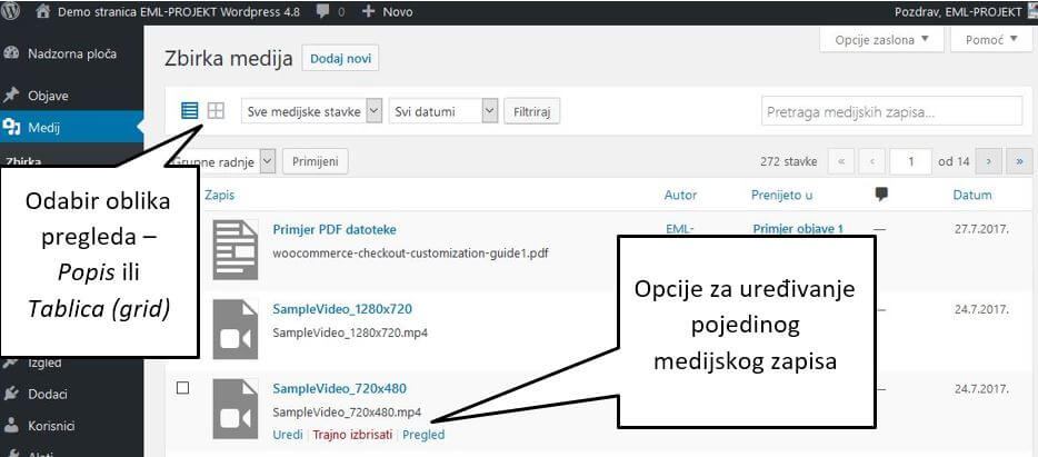 Pregled datoteka u Zbirci medija WordPress 4.8