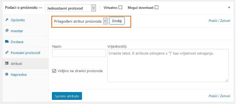 Dodavanje prilagođenog atributa proizvoda u WooCommerce 3.1