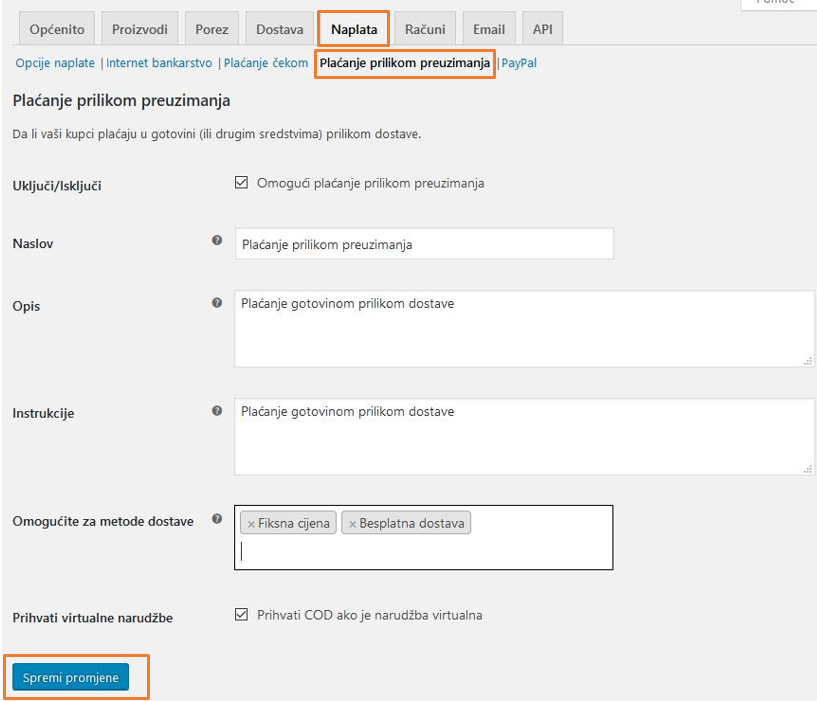 Plaćanje pouzećem u WooCommerce 3.1
