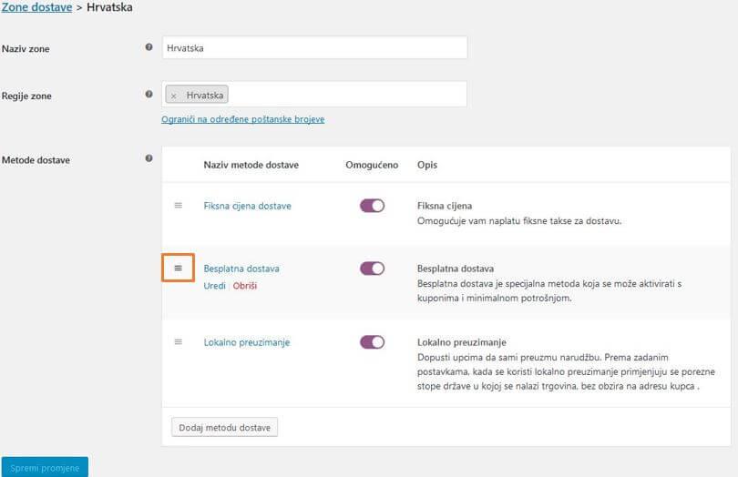 Redoslijed prikaza metoda dostave u WooCommerce 3.1