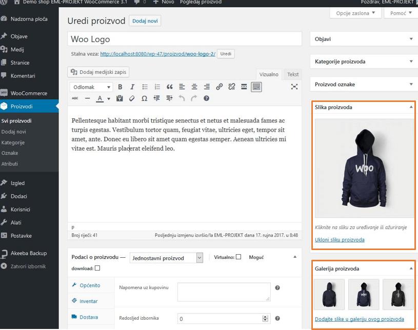 Dodavanje slika proizvoda u WooCommerce 3.1