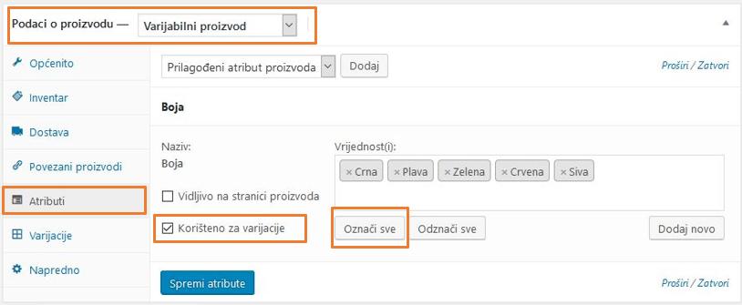 Odabir vrijednosti atributa u WooCommerce 3.1