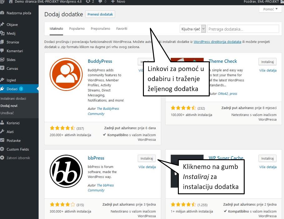 Dodavanje novog dodatka u WordPressu 4.8