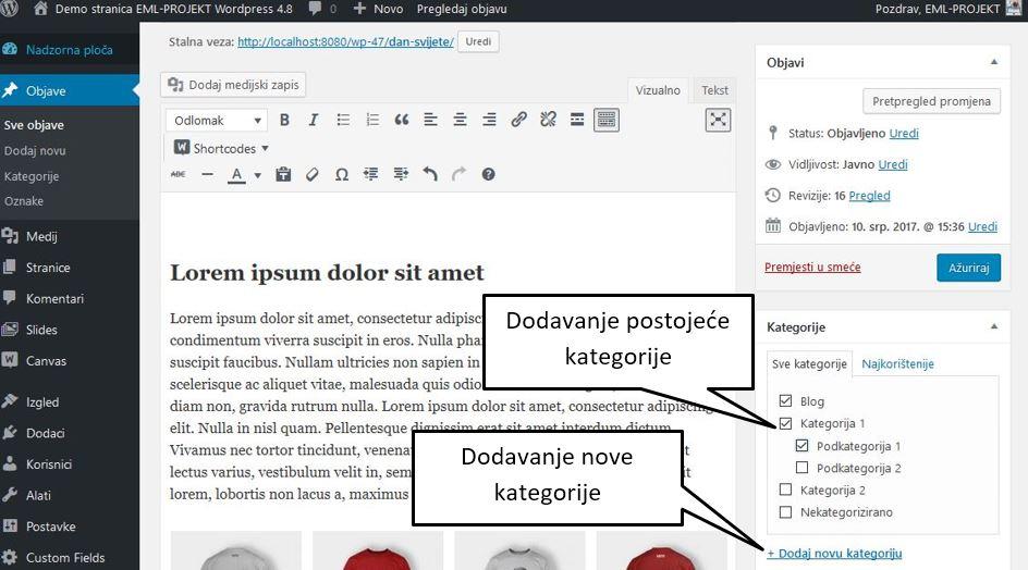 Dodavanje kategorija objava u Wordrpressu