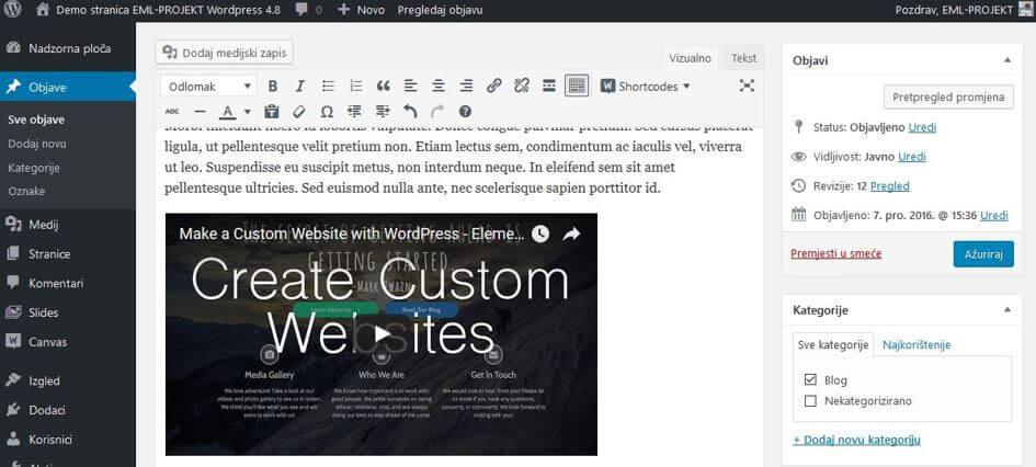 Unijet video sadržaj u WordPressu 4.8