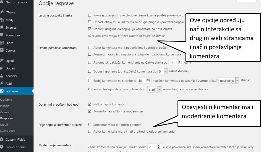 Postavke Rasprava u WordPressu 4.8