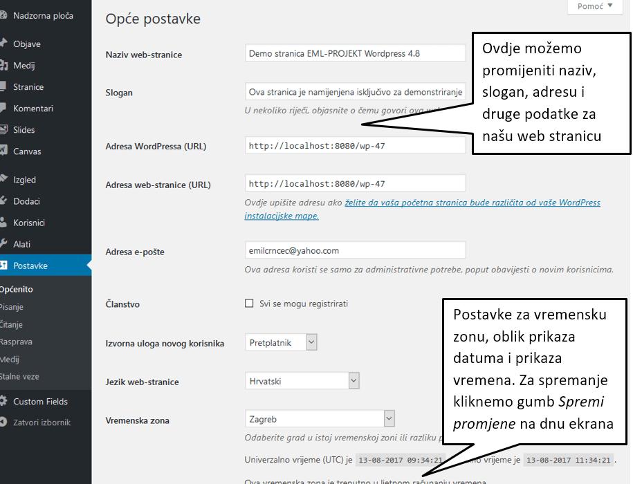 Opće postavke u WordPressu 4.8