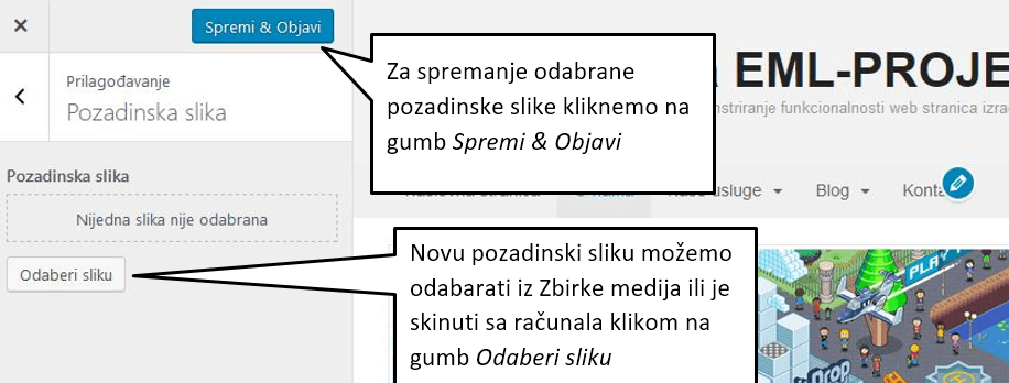 Pozadina u WordPressu 4.8