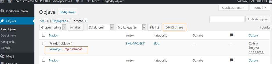 Trajno brisanje objava u WordPressu 4.8