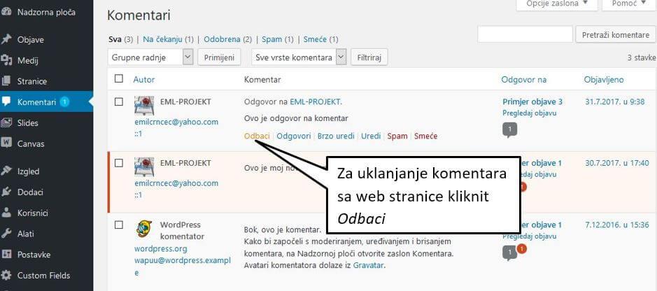 Uklanjanje komentara u WordPressu 4.8