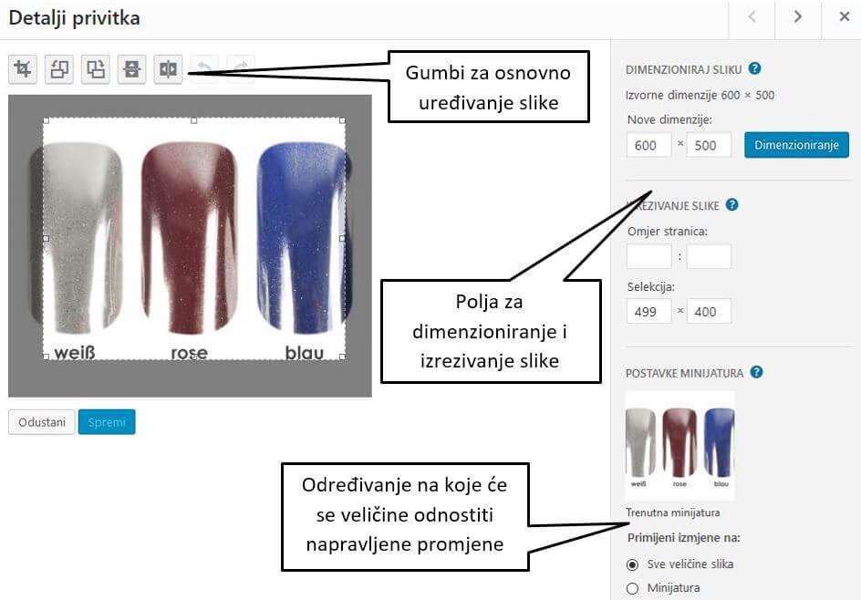 Uređivanje pojedinačne slike u WordPressu 4.8