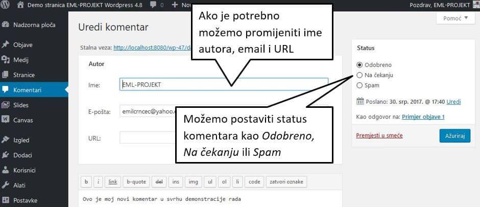 Uređivanje komentara u WordPressu 4.8