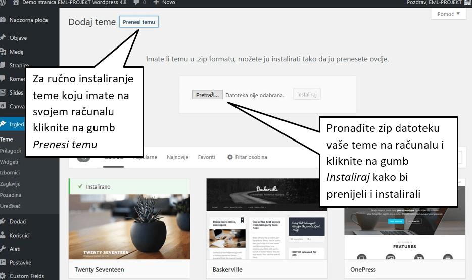 Ručno dodavanje teme u WordPressu 4.8