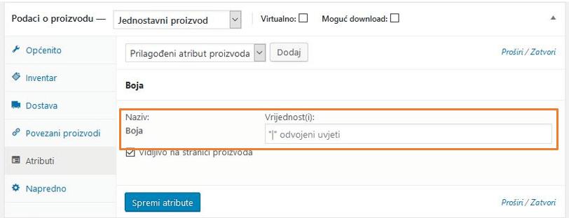 Dodavanje vrijednosti atributa proizvoda 'Tekst' u WooCommerce 3.1