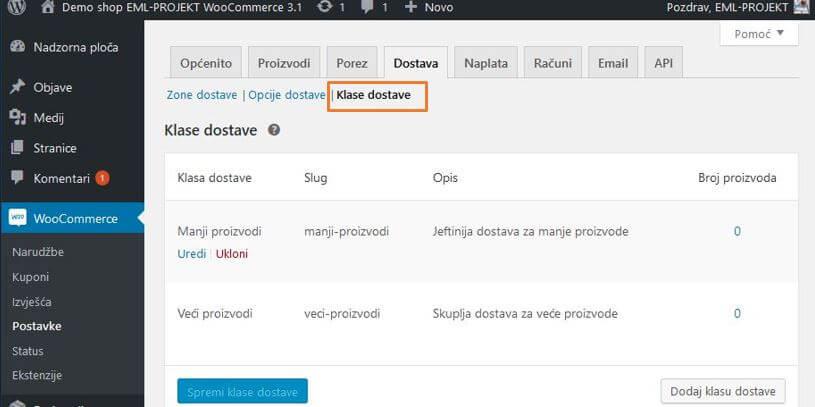 Prikaz klasa dostave WooCommerce 3.1