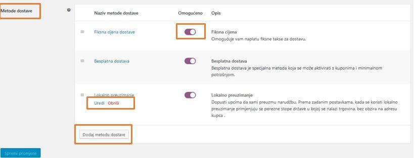Dodavanje metoda dostave u WooCommerce 3.1