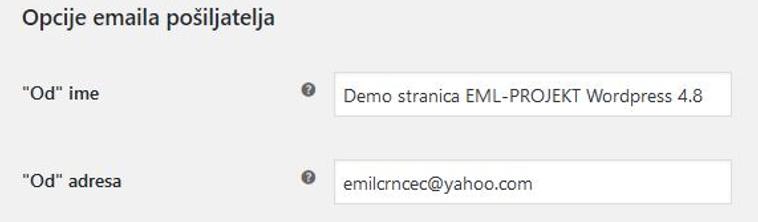 Opcije emaila pošiljatelja