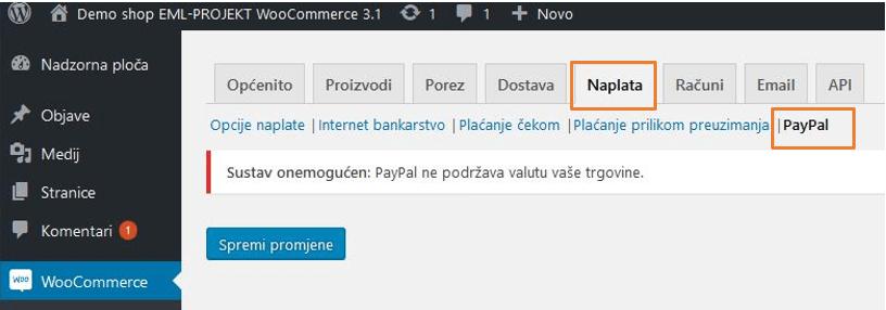 Plaćanje PayPalom u WooCommerce 3.1