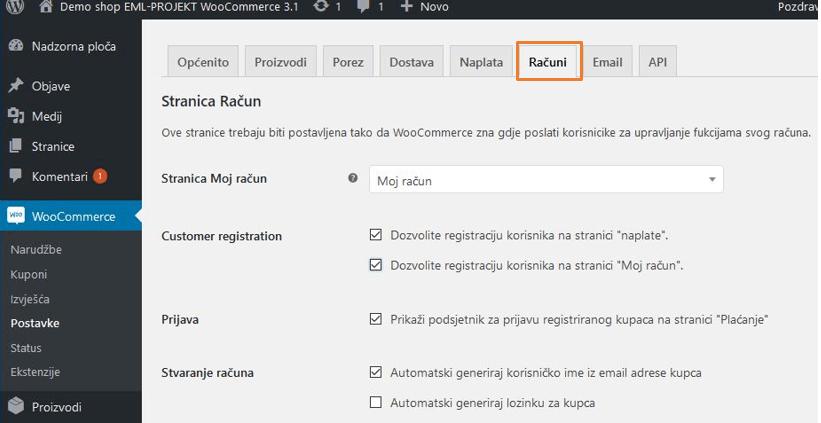 Postavke Računa u WooCommerce 3.1