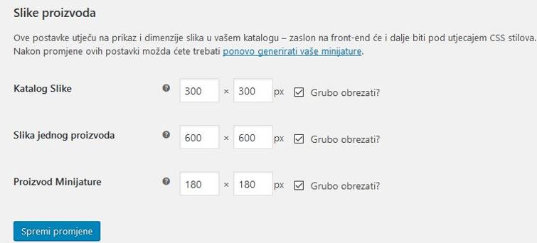 Standardne dimenzije slika proizvoda u WooComerce 3.1