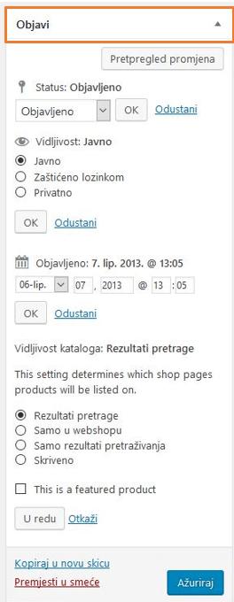 Postavke statusa i vidljivosti proizvoda u WooCommerce 3.1